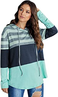Zandiceno Women's Oversized Striped Colorblock Knit Hoodies Casual Long Sleeve Hooded Pullover Sweatshirts