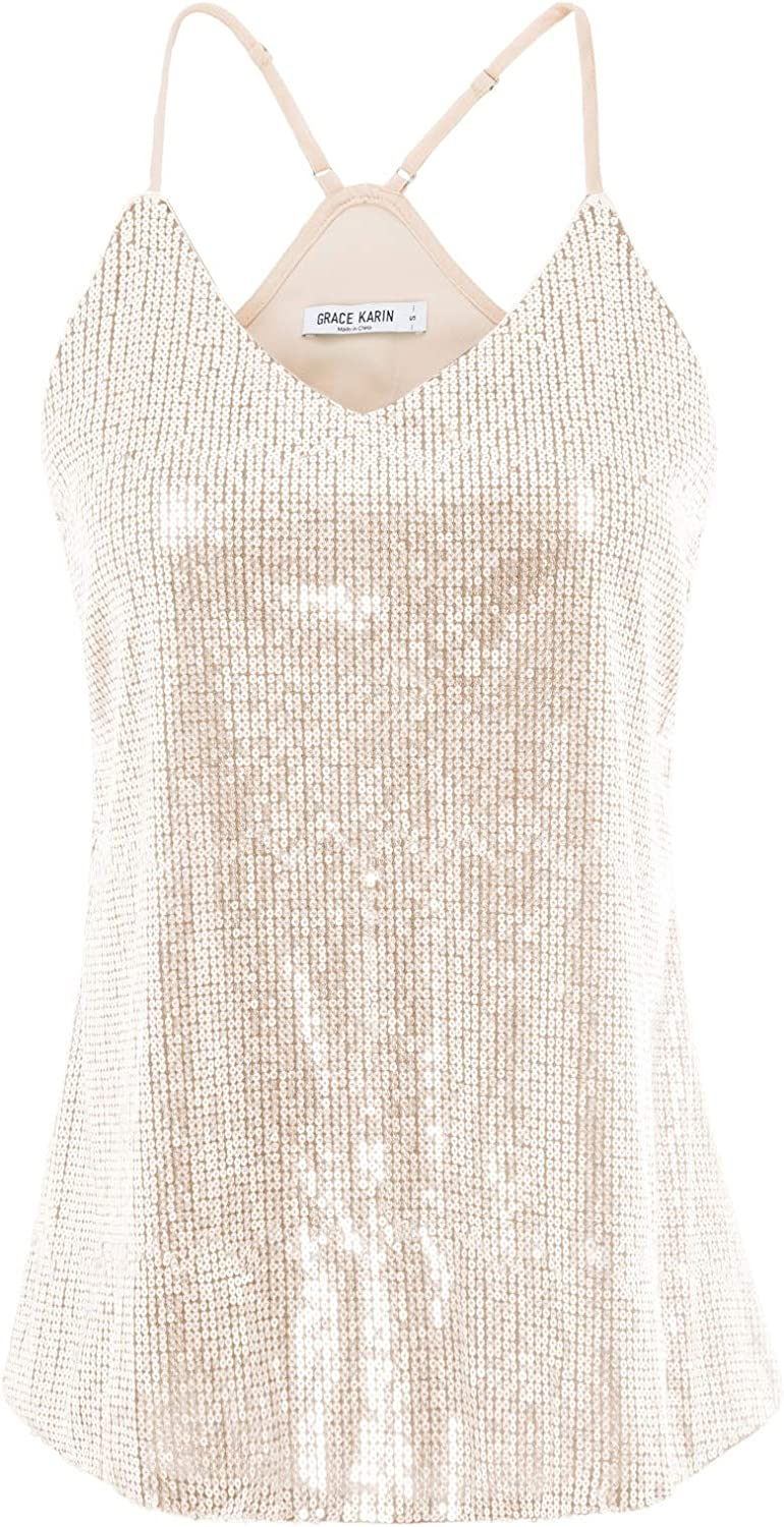 GRACE KARIN Women's Sequined Tank Tops Sexy Spaghetti Straps V-Neck Cami Top