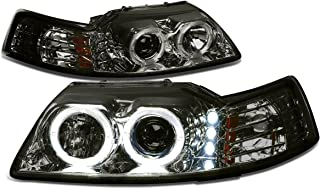 For 99-04 Ford Mustang Smoked Lens Amber Corner SN-95 Dual Halo Projector+LED Headlight