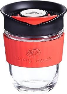 GUSTO M (Lustre) de Happy Earth (350 ml, taza de viaje de vidrio de borosilicato con funda de silicona y tapa a prueba de salpicaduras, sin BPA)