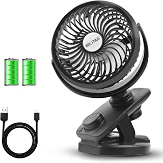 BRIGENIUS Battery Operated Clip On Oscillating Stroller Fan, Portable Mini Desk Fan with Rechargeable 4400mAh Battery&USB Cable, USB Powered Fan for Baby Stroller Office Outdoor Travel