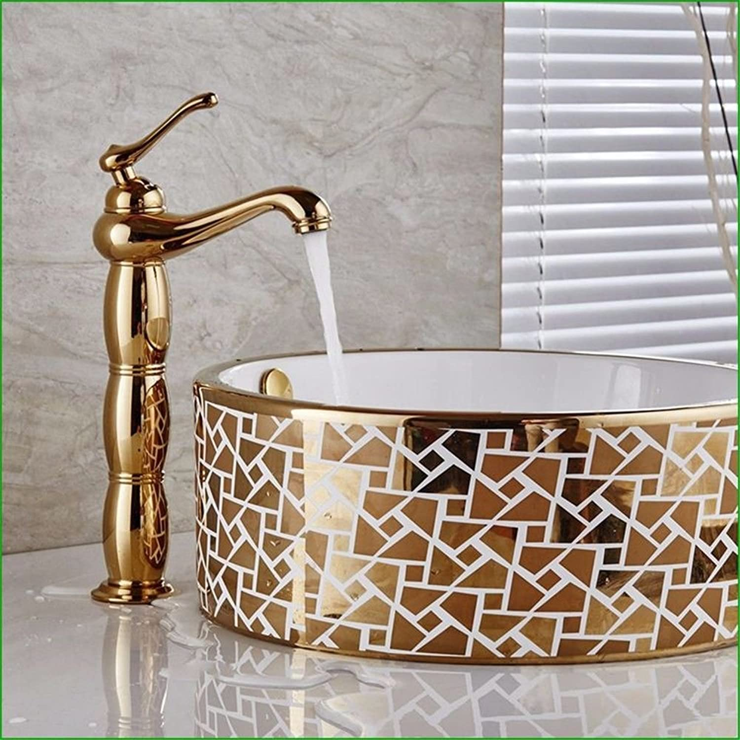 NewBorn Faucet Water Taps Hot And Cold Water Retro-Copper, gold-Plated Bathroom Water Tap Basin Surface Single Handle Single Hole Wash