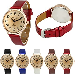 Geneva Women Big Dial Leather Brand Bracelet Wrist Watch Wholesales 6 Pcs Fiiliip(Mixed Color)