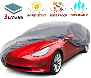 Leadpro Car Cover, 3 Layer Weather Defender UV Protection Scratch Resistant Dustproof, Universal Size Sedan Auto Vehicle Cover for Car Length 200