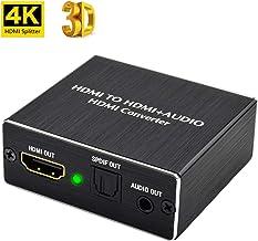HDMI Audio Extractor 4k,Ozvavzk Convertidor HDMI a HDMI Audio Óptico Toslink 3,5mm para PS3 PS4 BLU-Ray DVD Xbox TV etc.