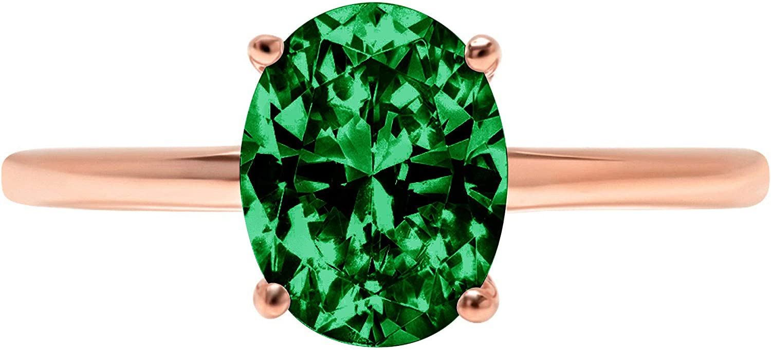 2.4ct Brilliant Oval Cut Solitaire Flawless Simulated Cubic Zirconia Green Emerald Ideal VVS1 4-Prong Engagement Wedding Bridal Promise Anniversary Designer Ring Solid 14k Rose Gold for Women