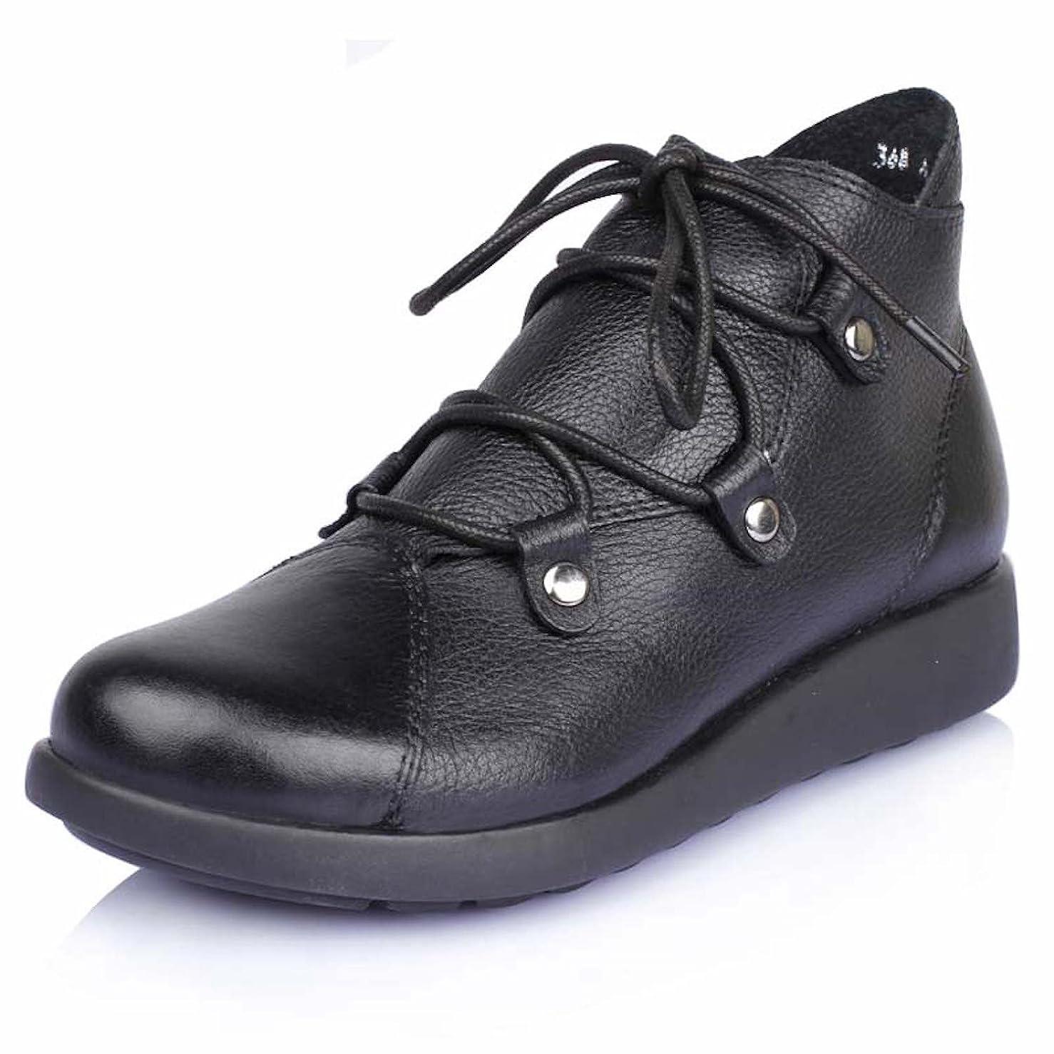 バンド時間蒸ブーツ ショートブーツ レディース 革 ウォーキングシューズ 革靴 レザー カジュアル 軽量