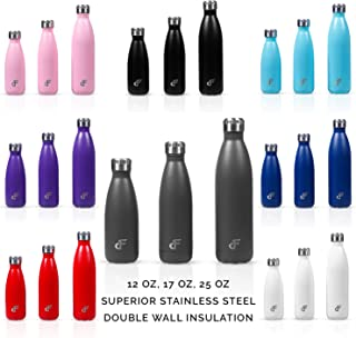 Day 1 Fitness Stainless Steel Water Bottle Narrow Mouth with Screw Lid (12 oz, 17 oz, or 25 oz) - 3 Size and 8 Color Options – Vacuum Insulated, Double Walled, Powder-Coated Sweat Proof Thermos