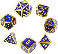 Metal Dice Set Polyhedral DND Role Playing Game Dice Set with Storage Bag for RPG Dungeons and Dragons D&D Math Teaching Tabletop Games (Shiny Gold and Blue)