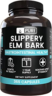 Natural Source Slippery Elm Bark, 365 Capsules, 1 Year Supply, Non-GMO, Gluten-Free, No Magnesium or Rice Filler, Made in ...