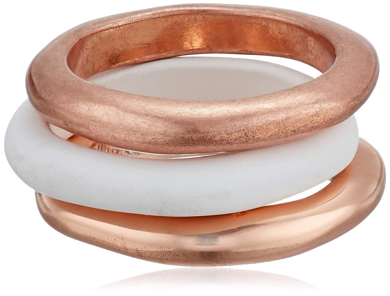 Robert Lee Morris Soho Women's White Patina & Rose Gold Sculptural Stackable Ring Set Size 7.5, One Size