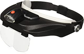 Carson Pro Series MagniVisor Head-Worn LED Lighted Magnifier with 4 Different Lenses, 1.5X, 2X, 2.5X, 3X