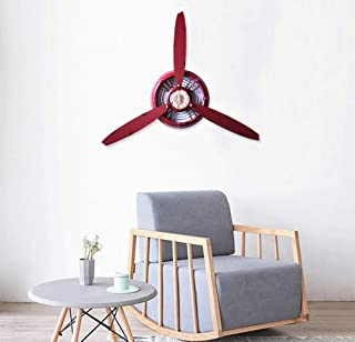 RISEON Vintage Metal Aircraft Airplane Propeller Fan Wall Hanging Wall Clocks Large Wall Sculptures Art for Living Room Bedroom bathrooms Office Kitchen (Red)