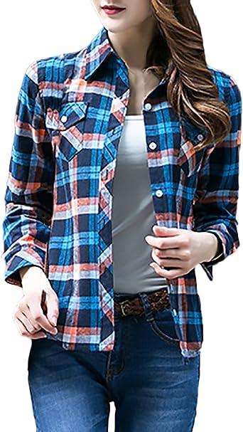 Camisas Mujer Manga Larga Elegantes Vintage A Cuadros Blusas ...