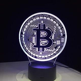 Led Lampe 3D Bitcoin Signe Modelé Veilleuses 7 Couleurs Usb Pièce Lampe Lampe Bébé Chambre Éclairage Accessoire Décoration...
