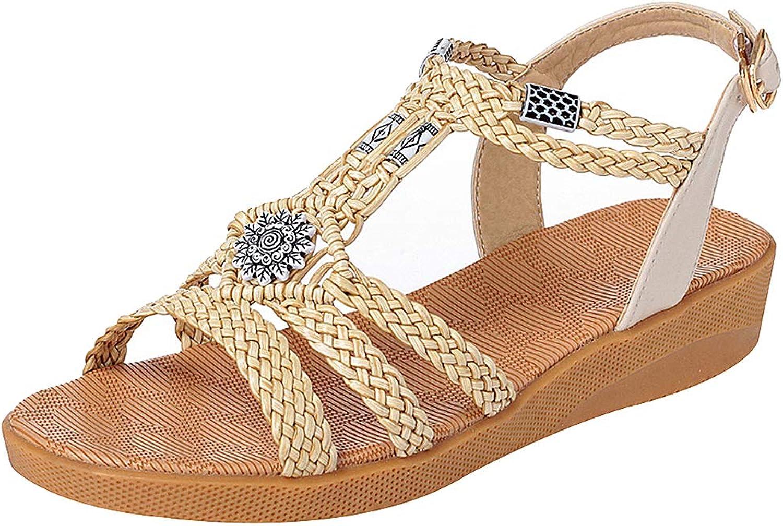 Rismart Women's Summer Beach Open Toe Boho Gladiator Wedges Sandals