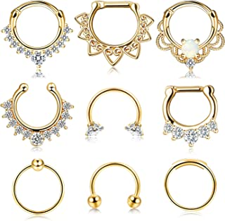 9 Pcs Stainless Steel Septum Hoop Nose Rings Cartilage Rings Clicker CZ Body Piercing Jewelry