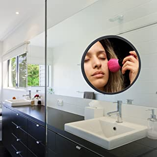Frafuo Shower Mirror for Shaving-Diameter 195MM Small Mirror for Wall with Silicone Grip Technology-Black Mirror for Bathr...