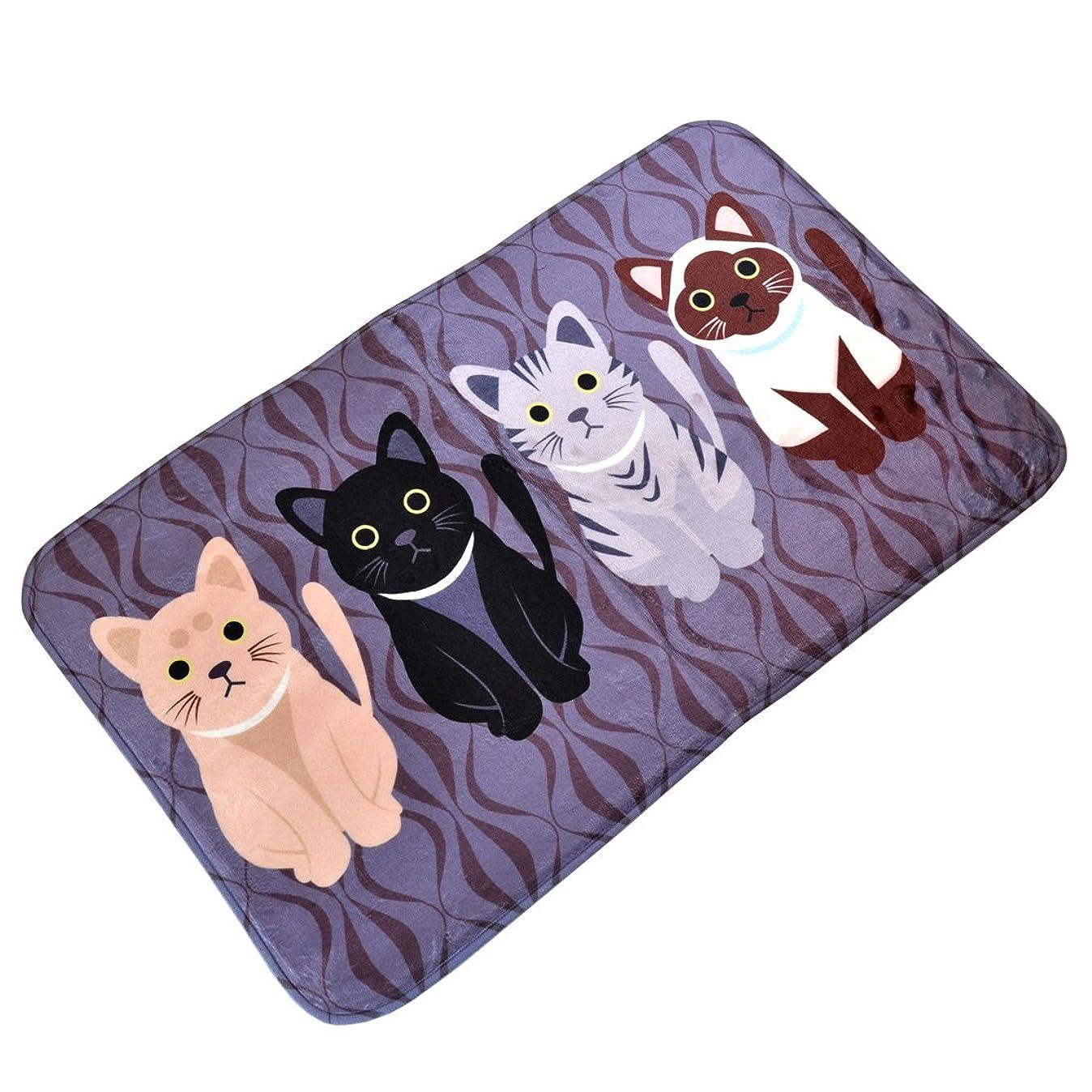 時々時々ペネロペコーヒーJiyaru 可愛い 猫柄 玄関マット ラグマット 北欧風 室内 屋内 お洒落 滑り止め カーペット 50*80cm ブラック
