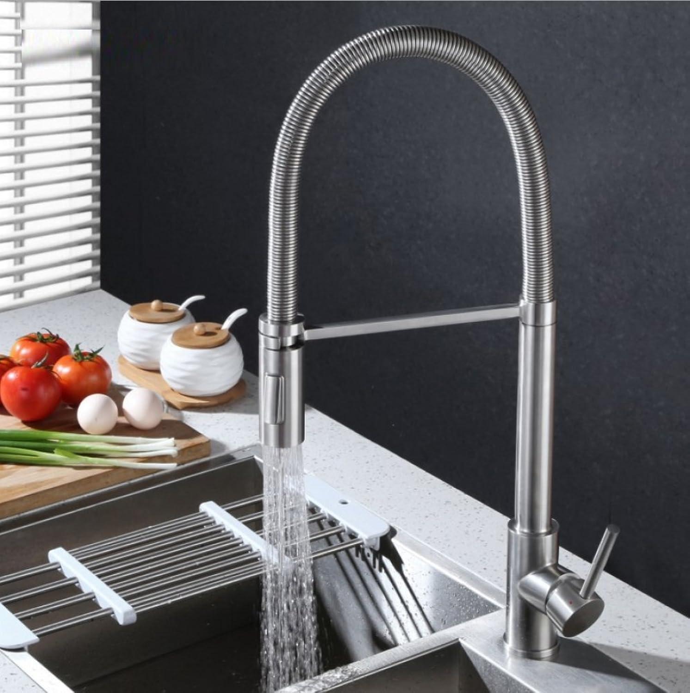 LD&P Spülbecken Einhebel Wasserhhne, Küche gebürstetem Edelstahl Zink-Legierung Kann drehen Kalt-und Heimischfeder Taps, Produkt-Gre  56cm  22cm  23cm