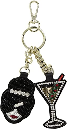 Embellished Stacey Face Martini Key Charm