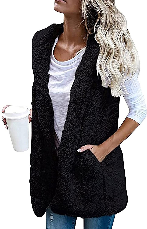 BCDshop Women Sleeveless Coat Faux Fur Open Front Fluffy Cardigan Sweaters Outwear Jacket Vest With Pocket