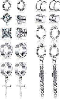 9 Pairs Non Pierced Magnetic Stud Earrings Stainless Steel Feather Dangle Earrings CZ Magnet Earring Hinged Cross Hoop Ear...