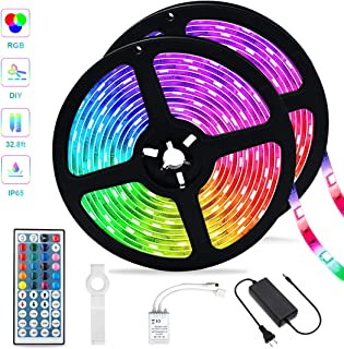 Led Strip Lights,32.8ft Waterproof RGB SMD 5050 Color Changing Tape Light, IR Remote Controller Dimmable Flexible Rope Lights, Suitable for Christmas, Patio and Indoor DIY Mood Lighting Lovers