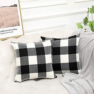 Vinvi Set of 2 Retro Checkers Plaids Cotton Linen Farmhouse Outdoor Decorative Pillow Covers Buffalo Check Plaid 18x18 Inches for Home Decor Black and White