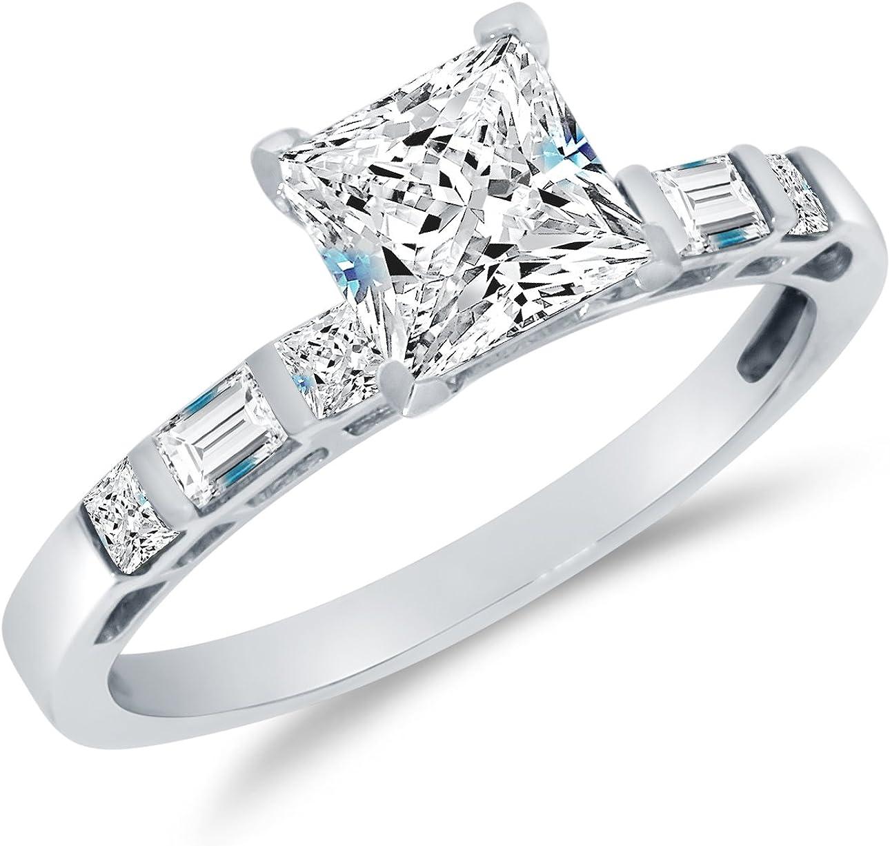 Solid mart 14k Washington Mall White Gold CZ Cubic w Bridal Engagement Zirconia Ring