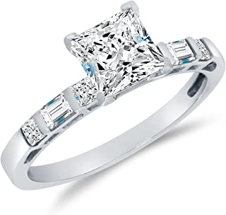 Solid 14k White Gold CZ Cubic Zirconia Bridal Engagement Ring w/Matching Wedding Band Two Ring Set - Princess Cut Solitaire with Baguette Side Stones (1.75cttw, 1.0ct. Center)