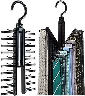 Alohha 2pcs Cruz X Perchas, Negro para Corbatas Organizador Percha Antideslizante Clips Soporte con Rotación de 360Grados, de Forma Segura hasta 20Lazos