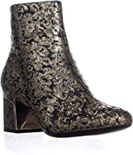 DKNY Womens Corrie Leather Almond Toe Ankle, Brocade Black/Gold, Size 7.0