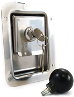 Junior Size Flush Mount Paddle Handle Stainless Steel Locking Door Latch Heavy Duty Premium 304 Grade Stainless with Interior Safety Release Handle Compatible with Toolboxes and Trailer Compartment