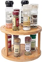 Lazy Susan Turntable Spice Rack Bamboo Spinning Spice Rack Holder Kitchen Cabinet 2-Tier 360 Degree 25.4cm Kitchen Turntable