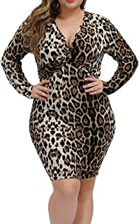 plus size leopard bodycon dress