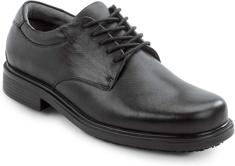 Rockport Works Mens Huron Black Dress Style Slip Resistant Soft Toe Work Shoe