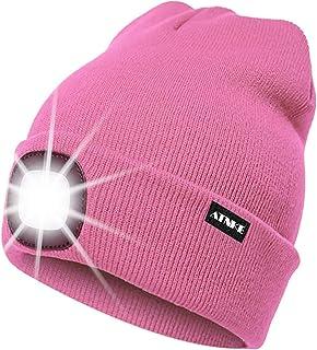 ATNKE LED beleuchtete Mütze, wiederaufladbare USB-Laufmütze mit extrem Heller 4-LED-Lampe und Blinkender Alarmscheinwerfer