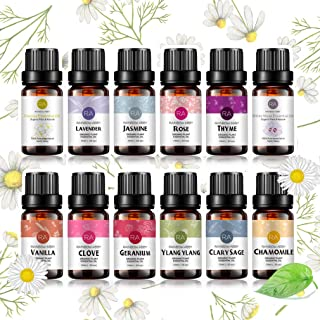 RAINBOW ABBY Top 12 Flower Essential Oil Set, 100% Pure Oils-(Rose,Jasmine,Vanilla,Lavender,Chamomile,Clary Sage,Ylang Yla...