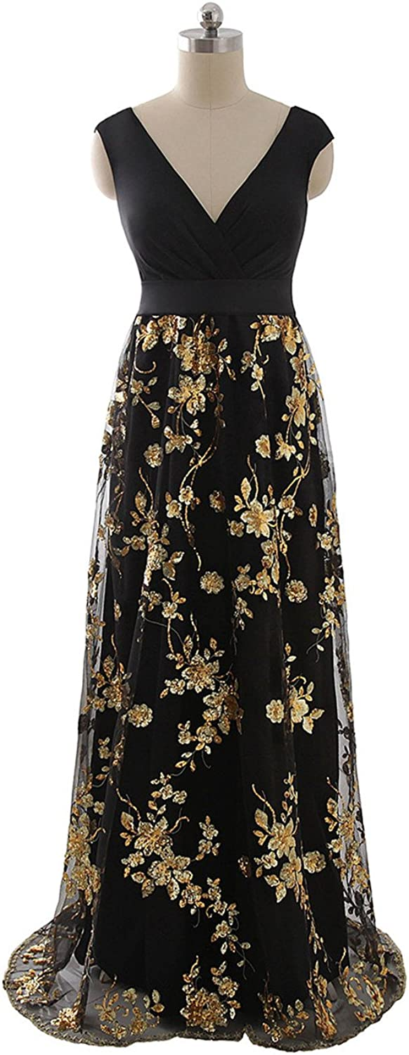 Anmor Black Long Women's Sequin VNeck Evening Party Formal Maxi Dresses ARSD403