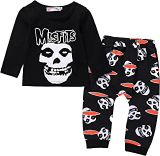Toddler Baby Boys Girls Clothes Kid Newborn Long Sleeve Skull Bone Print T-Shirt Tops Pants Outfit Set