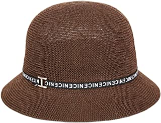 SHENLIJUAN Hat Summer Ladies Sunscreen Sunscreen Korean Version of The New Grass Yarn Cap Breathable (Color : Brown, Size : M56-58cm)