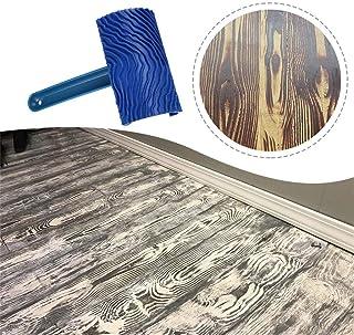 Efaster 2/1 Pcs Wood Grain Rollers,Painting Roller Wall Decoration,Wooden Grain Painting Roller with Plastic Handle,Wood Grain Pattern Rubber DIY Graining Painting Tool for Wall Decoration (1 Pcs)