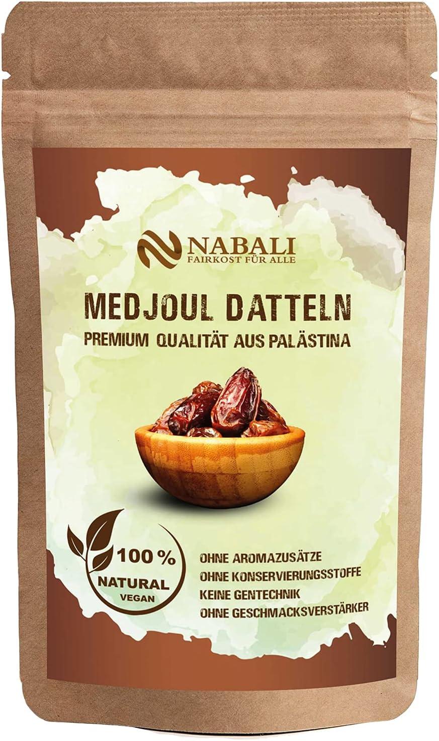 NABALI FAIRKOST Medjoul dátiles de Palestina - 100% natural aromático Tradicional Fresco & Oriental I sin conservantes I vegano I dátiles Medjoul jumbo (400 g)