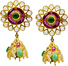 Saamarth Impex Emerald, Ruby (Created) Kundan Meena Gold Plated Dangle Earring PG-109531