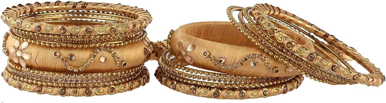 Efulgenz Fashion Jewelry Indian Bollywood Gold Plated Crystal Beaded Silk Thread Tassel Bracelet Bangle Set (18 pc)