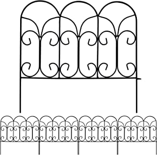 Best AMAGABELI GARDEN & HOME Decorative Garden Fence GFP004 18in x 7.5ft Coated Metal Outdoor Rustproof Landscape Wrought Iron Wire Border Fencing Folding Patio Fencing Flower Barrier Section Panel Decor Review