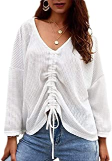 Women's Casual Drawstring Knot V Neck Pullover Sweater Top
