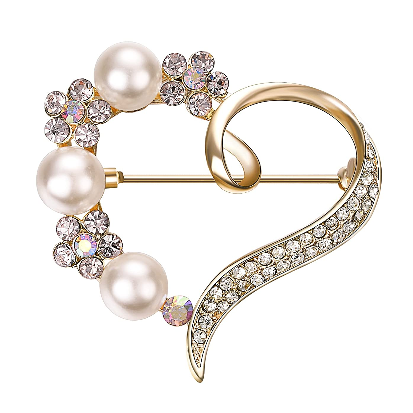 解釈的自分アウトドアYoursfs ハートブローチ 選べる アクセサリー パール 真珠 バラ クリスタル ラインストーン 愛のハート ブローチピン コスチュームジュエリー