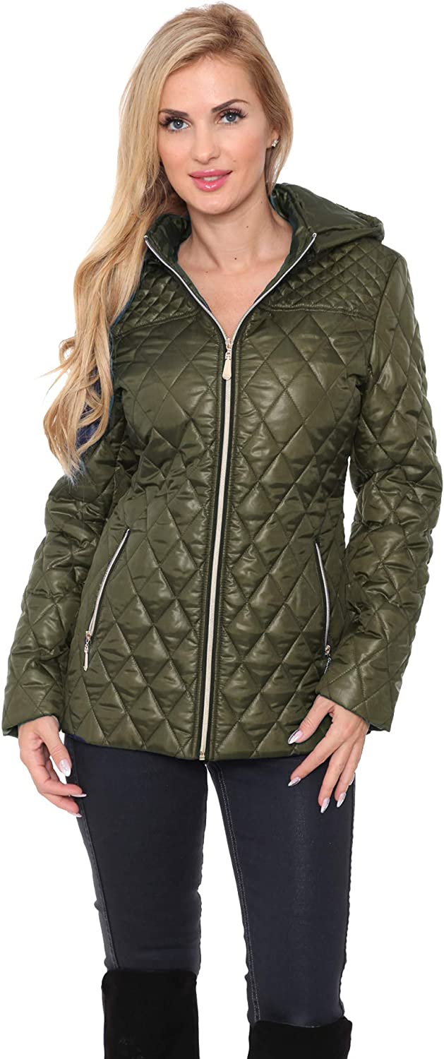 white mark Women's Quilted Puffer Jacket Detachable Hood